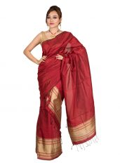 Gold and Maroon Mekhela Chadar