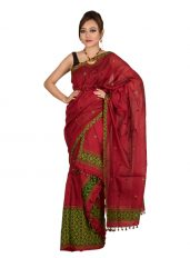 Red Mishing Panel Mekhela Chadar