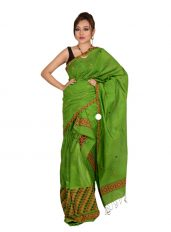 Green Mishing Panel Mekhela Chadar