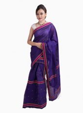 Deep Purple Tiny Paisley Mekhela Chadar