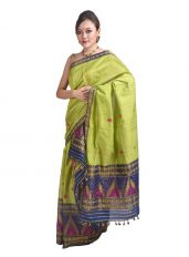 Green and Blue Mayur motif Mekhela Chadar