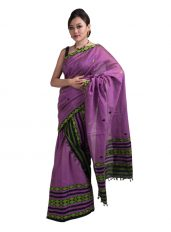 Purple Mekhela Chadar with Barfi design