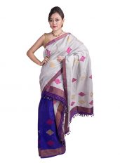 Purple and Silver Floral Web Mekhela Chadar