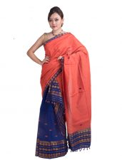 Orange and Navy Blue Floral Mekhela Chadar