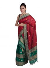 Green and Red Leaf motif Mekhela Chadar