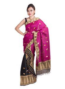 Pink and Black Leaf motif Mekhela Chadar