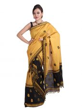 Black and Yellow Floral Mekhela Chadar