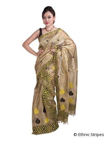 Golden Ghicha Kalsi design Mekhela Chadar