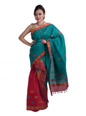 Red and Green Junbiri Mekhela Chadar