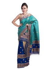 Blue and Green Leaf motif Mekhela Chadar