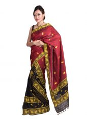 Red and Black Leaf motif Mekhela Chadar