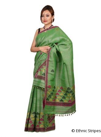 Leaf Green Gos Buta Nuni Mekhela Chadar