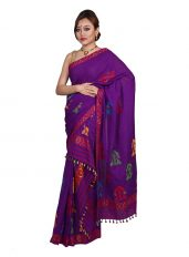 Bright Purple Gos Sorai Mekhela Chadar