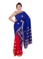 Red and Blue Contrast Junbiri Mekhela Chadar
