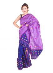 Violet and Blue Paisley Pattern Mekhela Chadar