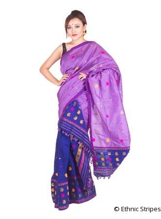 Violet and Blue Paisley Pattern Mekhela Chadar
