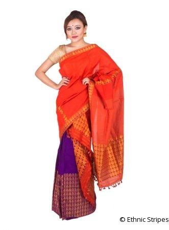 Royal Purple and Orange Brocade Mekhela Chadar
