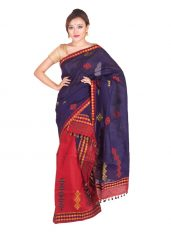 Navy Blue and Red Floral Mekhela Chadar