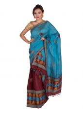 Maroon and Blue Rose motif Mekhela Chadar