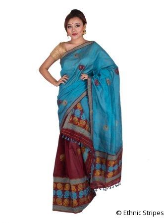Maroon and Blue Rose motif Mekhela Chadar