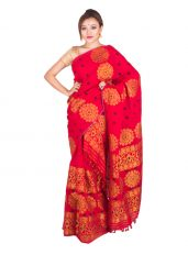 Red and Golden Floral Mekhela Chadar