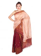 Peach and Maroon Floral Mekhela Chadar