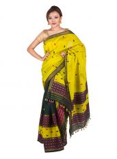 Green and Yellow Barfi design Mekhela Chadar