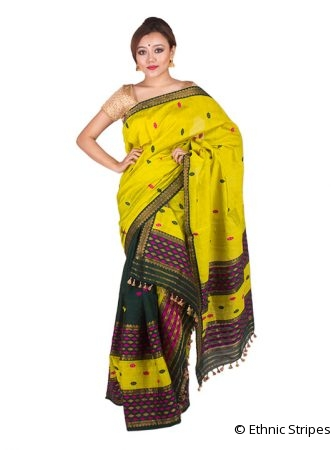 Green and Yellow Barfi design Mekhela Chadar