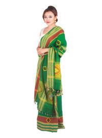 Green Rabha Design Mekhela Chadar