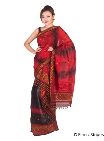 Red and Black Shaded Mekhela Chadar