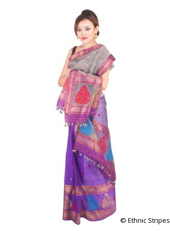 Purple and Grey Kingkhap Mekhela Chadar