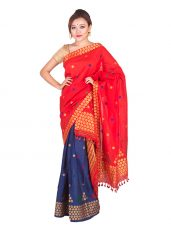 Paat Silk Red and Blue Contrast Mekhela Chadar
