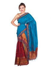 Royal Blue and Maroon Contrast Mekhela Chadar