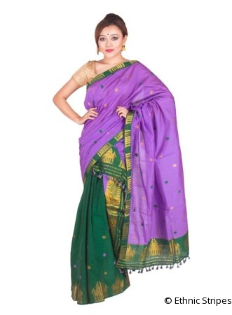 Purple and Green Golden motif Mekhela Chadar