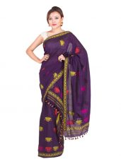 Purple Dimasa Design Mekhela Chadar