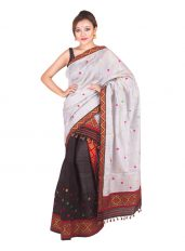 Ash Grey and Black Contrast Mekhela Chadar