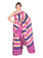Pink and Purple Poly Ghicha Silk Mekhela Chadar