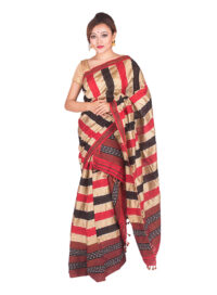 Red and Black Poly Ghicha Silk Mekhela Chadar