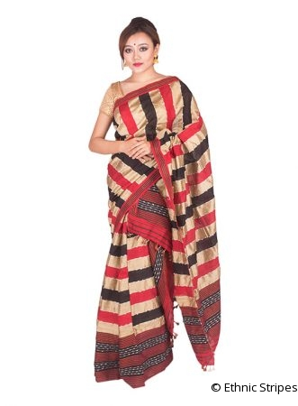 Red and Black Poly Ghicha Silk Mekhela Chadar