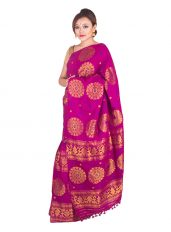 Purple and Gold Floral Mekhela Chadar