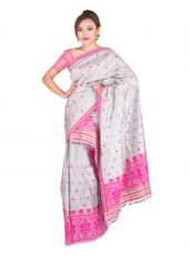 Silver and Pink Assam Silk Mekhela Chadar