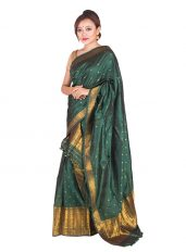 Bottle Green Assam Silk Mekhela Chadar