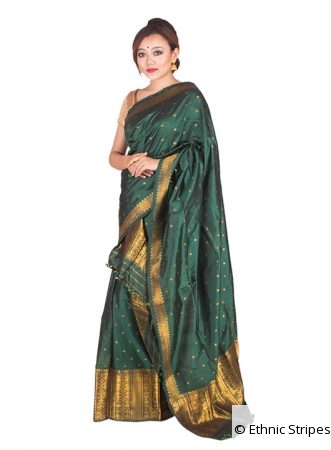 Bottle Green Assam Silk Mekhela Chadar