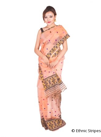 Peach Colour Nuni Paat Mekhela Chadar