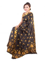 Black and Gold Assam Silk Mekhela Chadar