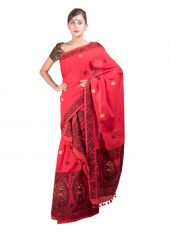 Deep Red Dance design Mekhela Chadar