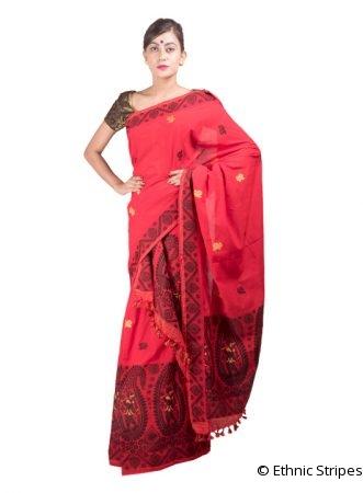 Deep Red Dance design Mekhela Chadar