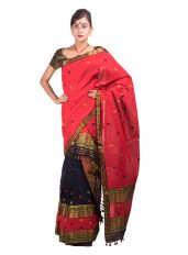 Red and Black Brocade Mekhela Chadar