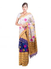 Silver and Blue Heavy Floral Mekhela Chadar