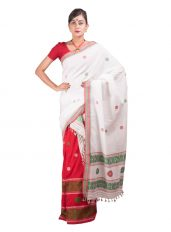 Red and White Floral Mekhela Chadar